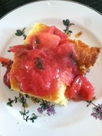 Rhubarb Strawberry Compote over Cornbread