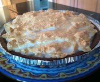 Lemon meringue pie with chocolate crust